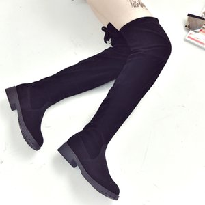 2019 women's boots autumn and winter new over the knee boots sleek minimalist comfort plus cotton flat Flock boots w34