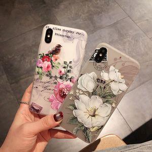 100pcs / lot Lark iPhoneXsMax Etui pour téléphone portable Applicable Apple Samsung S10 Huawei P30 Floral en relief Soft Shell