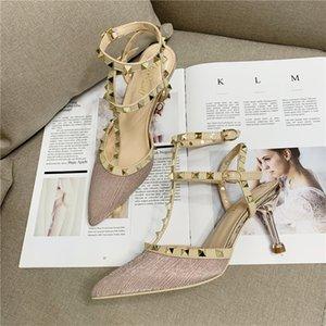 Charm Rivets heels sandals med stiletto sandal glamorous pumps summer dress shoes fashion designer pump shoes z107