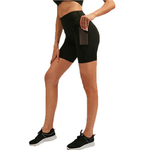 Women Yoga Compression Leggings High Waist Sports Shorts with Pocket for Fitness Gym Exercise Running Jogging Workout Pants