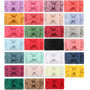 Baby Solid Hairband 27 Colors Boho Bows Headbands Infant Girls Bohemian Hair Bows Kids Nylon Elastic Headband Baby Hair Accessories M2047