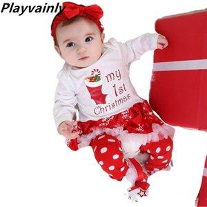 2020 Baby Girl christmas Dress Cotton 1st Birthday Dress Bodysuit+Shoes+Socks+Headband 4pcs Sets Clothing YK008
