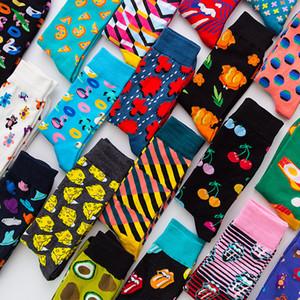 Высокое качество мода унисекс носки красочные цвета полосатый плед Алмаз вишня плюс размер носки мужчины и женщины расчесанные хлопчатобумажные носки