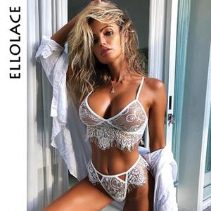Ellolace conjunto de lencería sexy conjunto de ropa interior erótica caliente para las mujeres sujetadores transparentes de encaje ahuecan hacia fuera sujetador breve fantasía sujetador