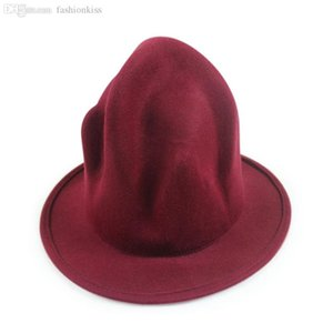 Al por mayor-Efectúe los apoyos de lana negro de ala del tubo de los hombres Buffalo Sombrero Sombrero Montaña Pharrell Williams envío libre