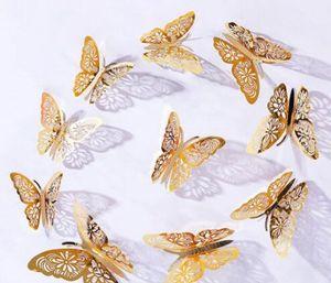 3D kağıt kelebek ev simülasyon kelebek dekorasyon 12pcs dışarı İçi boş / set 3D simülasyon kelebek dekorasyon Duvar Etiketler