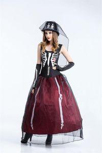 Dress The Skeleton Bride Theme Художник По Костюмам Женский Косплей Платье Без Рукавов Halloween Day Funny Dress Party