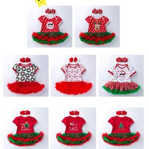 Новогодние гирлянды Baby Girs Дети с коротким рукавом Рождество Snowma Deer Tree Горошек с принтом Tutu Romper + Bow Оголовье 0-24 месяца