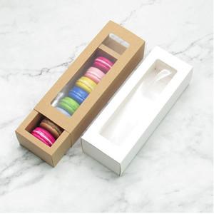 30pcs Macaron Packpapier Box Weiß Braun Kraft Carboard Box mit Sichtfenster DIY Plätzchen Macaron Geschenk XD22852