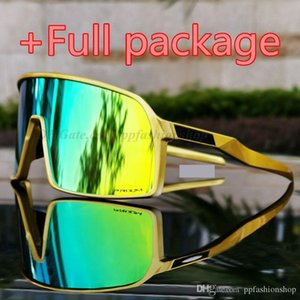 Full package New Brand Sutroe Polarized Cycling Glasses Men Women Bike gold Bicycle Sports 009406A 3 pairs lens Cycling Sunglasses with case