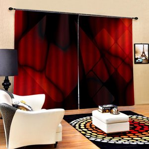 3d Curtain Red Square Geometric Figure Decoration Indoor Living Room Bedroom Kitchen Window Blackout Curtain