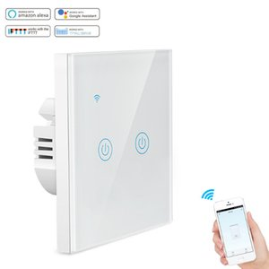 alexa compatible EU UK standard tuya wifi smart switch wifi light switch 2 gang on  off touch wall switchuch wall switch