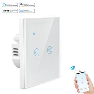 alexa compatible EU UK standard tuya wifi smart switch wifi light switch 2 gang on  off touch wall switchuch wall switch