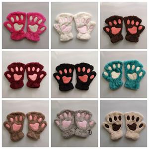 1 Luvas par bonito Inverno Bonito Quente Luvas Mittens pata do gato Curto dedos Plush Meia Luvas para as Mulheres das senhoras Meninas RRA2109