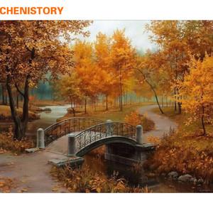 CHENISTORY Herbst-Landschaft DIY Malen nach Zahlen Kits Malerei Zeichnung nach Zahlen Acrylfarbe auf Leinwand-Raum-Grafik