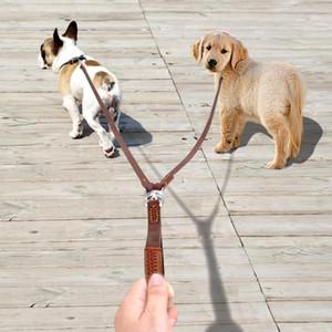 Yürüyüş ve Eğitim 2 Küçük Orta Dogs için Saplı Bağlaştırıcı NoTangle 2 Yolları Köpek Leash Çift İki Pet Deri İlanlar