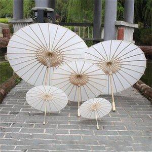 Bridal Wedding Parasols White Paper Umbrellas Chinese Mini Craft Umbrella Diameter 20 30 40 60cm Wedding Umbrellas DHL free