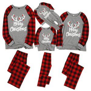 Noel Aile Pijama Takımı Noel Giyim Ebeveyn-çocuk Takım Elbise Ev pijamalar Yeni Bebek Çocuk Baba Anne Eşleştirme Aile Kıyafetler LY191220