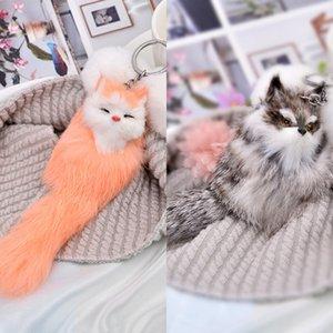 Palla gioielli Anelli Pompon reale della pelliccia di Fox Charm Keychain Bag Portachiavi Donne chiave Carino Fox catena Fluffy arco-nodo