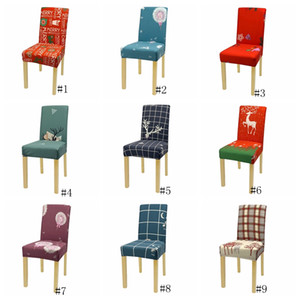 Christmas Chair Covers Spandex Chair Cover Stretch Elastic Dining Seat Cover Removable Chairs Case for Banquet Xmas Decoration GGA2825