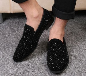 Black Spikes New Mens Loafers Luxury Shoes Denim And Metal Sequins High Quality Casual Men Shoes