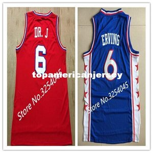 2019 Yeni # 6 Julius Erving Dr J Üst Basketbol Forması Nakış Dikişli ABD Boyutu S-XXL yelek Formalar Ncaa