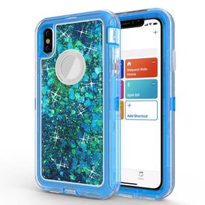 Casos Quicksand Glitter Líquido Robô à prova de choque Limpar Armadura tampa traseira Defender Cases para iPhone 11 Pro Max Samsung S10 Nota 10 com OPP Bag