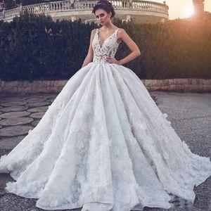 Ball Gown Lace V Neck Cheap Beach Country Wedding Dresses Bridal Gowns 2019 abiti da sposa Milla Nova Wedding Gowns H005