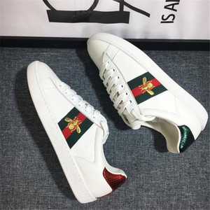 Leather Bee shoes, Men Women Casual Shoes Fashion Sneakers Lace-up Shoes Green Red Stripe Black Leather Bee Embroidered