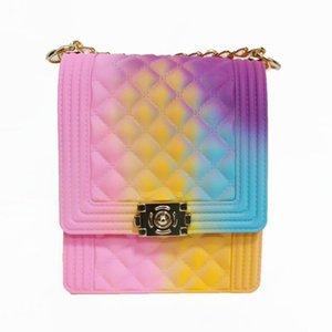 Bolsos de moda de silicona Jelly señoras de Crossbody del arco iris de goma de PVC monedero colorido