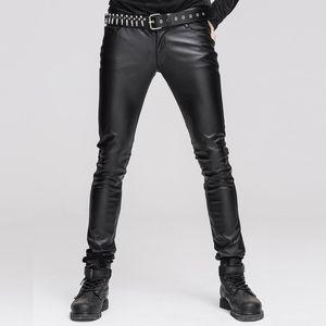Moda Steampunk Hombre Negro Sexy PU Pantalones de cuero Gothic Punk Casual estiramiento apretado pantalones Slim