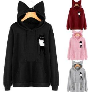 NUOVE donne Cat auto hoodies casuali Stampa dell'orecchio di gatto Maglia con cappuccio a maniche lunghe tasca superiore Autunno Pullover Felpe Sudadera Mujer