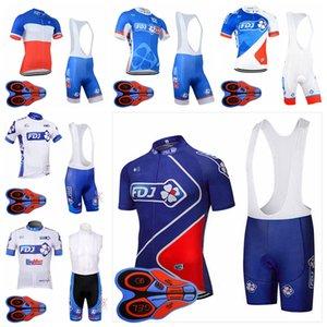 FDJ takım Bisiklet Kısa Kollu jersey önlüğü şort setleri yaz moda erkekler kısa kollu önlüğü şort hızlı kuru açık spor forması setleri S82427
