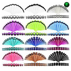 36PCS / 많은 아크릴 귀 게이지 테이퍼 및 플러그 스트레칭 키트 혼합 색상의 귀 육체 터널 확장 바디 피어싱 보석 14G-00G