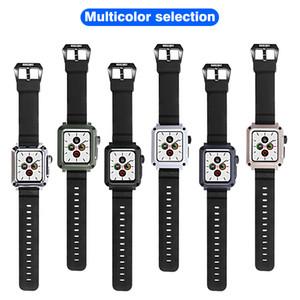 Abdeckung für Apple-Uhrenarmband 38mm 40mm 42mm 44mm, Metallstoßkasten mit Gurt Einbau-ausgeglichenen Glas-Schirm-Schutz für Iwatch Series