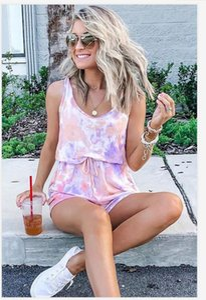 Hots gratuito de pijamas Tiedye Crew para mujer corbata tinte pijama corto Define Tie Dye pijama de la impresión floral Bwkf