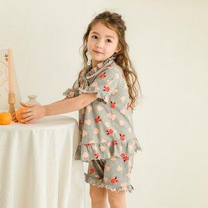 Prenses Dantel Kız Çocuk Pijama Karikatür Uzun Kollu Tişört Kız Giyim Pijama Sleepwear Sleeping Kısa Pantolon Tops ayarlar