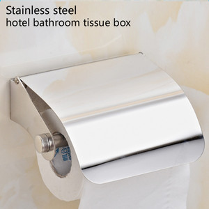 Stainless Steel Tissue Box Roll Holder Toilet Wall Mounted Roll Holder Bathroom Simple Single Cover Tissue Holder for Bathroom Stand