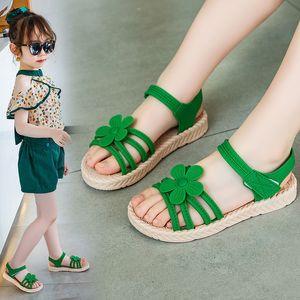 2020 New Girl Sandals beach Children Sandal flowers princess Summer Fashion Kids shoes green yellow pink 3 4 5 6 7 8 9-14T T200703