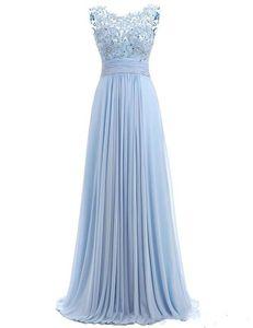 캡 슬리브 플러스 사이즈 댄스 파티 드레스 2020 우아한 크루 넥 레이스 아플리케 파란색 긴 공식적인 저녁 가운 층 길이 들러리 드레스