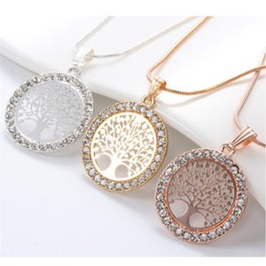 Luxury Gold Charm Tree of Life Rhinestone Round Pendants Necklace for Women Collier Jewelry Girls Gifts