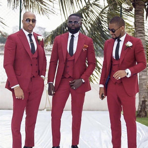 Handsome One Button Groomsmen Peak Lapel Groom Tuxedos Men Suits Wedding Prom Dinner Best Man Blazer(Jacket+Pants+Tie+Vest) W108