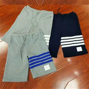 Pamuk Geri Döngü Jersey Örme Engineered 4-Bar Uyluk Stripe Sweatshorts erkek kadın spor Casual Diz Boyu Pantolon