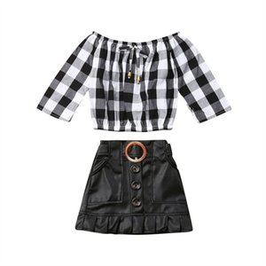 Summer Autumn Suit Kids Child Baby Girl 2pcs Long Sleeve Plaid T-shirt Tops Mini PU Skirt Dress Outfits Clothes Set Sunsuit 3-7T