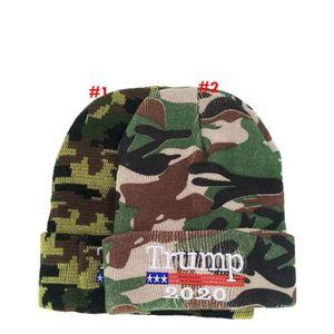 Trump Beanie Camouflage Trump 2020 Gorro inverno quente Hat Camo Letter bordado Trump Presidente Caps OOA7578