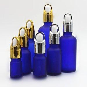 gümüş altın sepet kap lüks esans parfüm eliquid şişe 10ml 15ml 20ml buzlu mavi cam damlatma şişesi