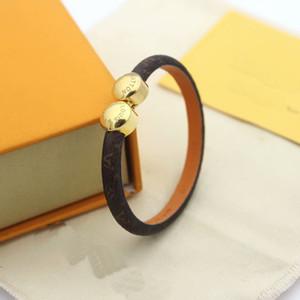Мода марка Названный Lady Круглая печать цветочного дизайна кожаные браслеты браслет с 18k Gold Double Round Head Заклепки Гравировка V Письмо Подвеска