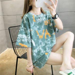 #0679 Tie Dyed T Shirt Women Cotton Harajuku Hip Hop T Shirt O Neck Casual Streetwear Plus Size Long Shirts Women For Summer
