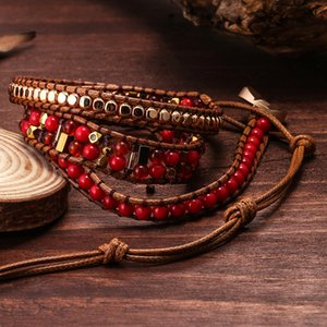 Mix Stone Wrap Bracelets for Women Geometric Copper Beads 3Row Mix Beads Lapis Lazuli Red Stone White Jade Beaded Bracelet Bohemian Jewelry