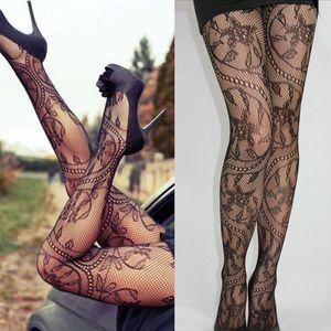 Moda Mujeres sexy Damas Encaje Malla Lencería Liguero Mallas Muslo Medias altas Medias Negro Medias finas